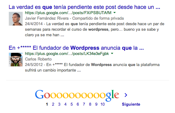 Enlace posicionado por Google plus